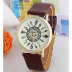นาฬิกาข้อมือผู้หญิง สไตล์ วินเทจ หน้าปัด ขนนก สายหนัง Pu ทนทานต่อการใช้งาน สินค้าลดราคา สีดำ สีน้ำตาล สีขาว 809720