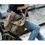 กระเป๋าสะพายข้าง ผู้ชาย ผ้า canvas กระเป๋าสะพายแนวเซอร์ ๆ สไตล์ วินเทจ กระเป๋าใส่โน้ตบุ๊ค ได้ สี เขียวทหาร no 3366_2