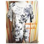 Used เสื้อผ้าซีฟอง ตัวใหญ่ใส่สบาย เสื้อผู้ใหญ่ แบบสวย ลายดอกไม้สีเทา เนื้อผ้า 2 ชั้น แขนตุ๊กตา รอบอก 40 นิ้ว no u003