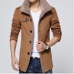 เสื้อ แจ็คเก็ต ผู้ชายแขนยาว Jacket แบบสูท เสื้อกันหนาว ไฮโซ ซับใน ด้านใน เป็นขนสัตว์ นุ่ม ใส่สบาย ดีไซน์ เป็น เสื้อสูท สีน้ำตาล กากี 79420_2
