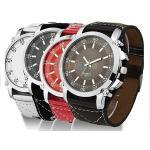 นาฬิกาข้อมือ สายหนังแท้ มี 3 สี สีแดง สีขาว สีดำ สีน้ำตาล นาฬิกาแนว sport เท่ ๆ ลดราคา no 525758