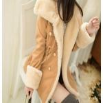 เสื้อโค้ท เสื้อกันหนาว ผู้หญิง เสื้อขนเฟอร์ น่ารัก ๆ สไตล์เกาหลี หนานุ่ม อุ่นสบาย เสื้อโค้ทใส่ไปเมืองนอก ไฮโซ สี Camel 65600_2
