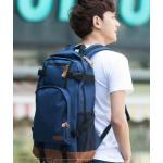กระเป๋าเป้ กระเป๋าสะพายหลัง ผู้ชาย ใบยาว กว่าปกติ Backpack สไตล์ หนุ่มเกาหลี เหมาะสำหรับการเดินทาง สุด ๆ สีน้ำเงิน no 644850