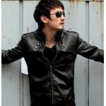 เสื้อคลุมผู้ชายแขนยาว สไตล์ แจ็คเก็ตหนัง สวยเท่ มีสไตล์ เสื้อ Jacket หนัง คอตั้ง แต่งกระดุมที่คอ แบบพอดีตัว สีดำ มาดเท่ แบบวินเทจ no 610224_2