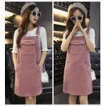 Dress4056-Size-XXL-สีชมพู / ชุดเอี๊ยมกระโปรงผ้ายีนส์ลูกฟูกเนื้อดีทรงสวย สายปรับความยาวได้ มีกระเป๋าหน้าและข้าง