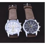 นาฬิกาข้อมือผู้ชาย สายหนังแท้ แนว Sport แบบแมน ๆ มี 2 สี หน้าปัดดำ และ หน้าปัดขาว นาฬิกาสายหนัง ลดราคา no 90366