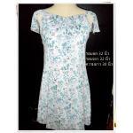 #1130 Used เดรสคุณหนู ชุดแซก สีฟ้า ผ้าซีฟอง ลายดอกไม้