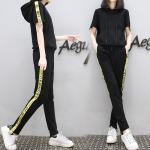 Set_bt1614-Size-XL ชุดเซ็ท 2 ชิ้น(เสื้อ+กางเกง) เสื้อทรงสปอร์ตมีฮู้ดกระเป๋าหน้า กางเกงขายาวเอวยืด สีพื้นดำ