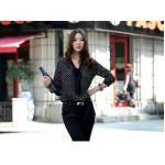 เสื้อแฟชั่น เสื้อผู้หญิง สีดำ แขนยาว ลายจุด ใส่ทำงาน แต่งโบว์ เก๋ ๆ ที่หน้าอก เสื้อใส่ทำงาน ผ้าซีฟอง สีดำ สวย ๆ มีสไตล์ 161099