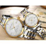 นาฬิกาข้อมือสายสแตนเลส แบบเป็นคู่ ผู้หญิง ผู้ชาย นาฬิกาข้อมือสแตนเลส สีทองสลับเงินสุดหรู มีระบบวันที่ 959261
