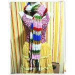 ผ้าพันคอไหมพรม งาน Hand made สีรุ้ง s003