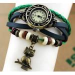 นาฬิกาข้อมือ ผู้หญิง สายหนังถัก สไตล์สร้อยข้อมือ วินเทจ สีเขียวแก่ ห้อย นกฮูก