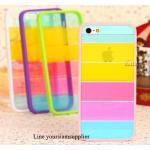 เคส iphone 5 สีรุ้ง Rainbow case ขอบสีชมพูอ่อน ฟรีปากกา Touch screen