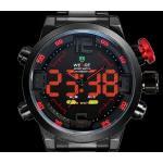 นาฬิกาข้อมือ แบบ Digital ผสม แบบ Analog ตัวเลข Led สาย Stainless Steel สีดำ คลาสสิค หน้าปัด สีแดง ฟ้า ขาว และ เหลือง ของขวัญให้แฟน 185185