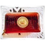 กระเป๋าสตางค์ผู้หญิง หนังแก้ว สีส้มสด ซิปรอบ สินค้ามีตำหนิเล็กน้อยตามภาพ สินค้าลดราคา เคลียร์สต๊อก ถูกสุด ๆ cl003