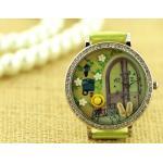 นาฬิกาข้อมือผู้หญิง นาฬิกา diy แต่งดิสเพลย์ ด้านใน จำลองเป็น สวนสวย สีเขียว ในนิยาย นาฬิกา สายหนัง ให้แฟน สุดสวย 626363