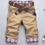กางเกงขาสั้นผู้ชาย กางเกงขาสามส่วน สีน้ำตาลอ่อน กากี แบบสวย กางเกงแฟชั่น ผู้ชาย วัยรุ่น มีกระเป๋าหลังและ กระเป๋าข้าง ขาพับ มีลายเก๋ ๆ 354686_2