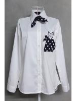เสื้อเชิ้ตลายแมวพร้อมผ้าพันคอลายจุด