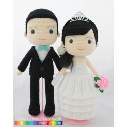 ตุ๊กตาถักคู่แต่งงานชุดสากล ระบายหนา 3 ชั้น