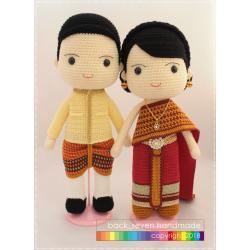 ตุ๊กตาถักคู่แต่งงานชุดไทย โทนแดง