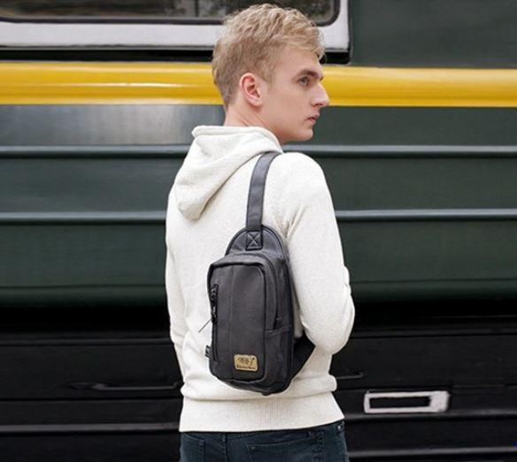 กระเป๋าคาดอก แฟชั่น นักเรียนนอก หนุ่ม อังกฤษ กระเป๋าหนัง คาดด้านหน้า สีน้ำตาล ดำ กากี กระเป๋าแฟชั่น สำหรับ ใส่กระเป๋าสตางค์ 222017