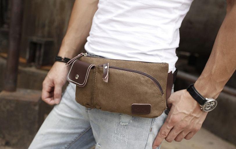 กระเป๋าคาดเอว ผู้ชาย ผ้าแคนวาส อย่างหนา ผสมผสาน หนังแท้ ดีไซน์ เท่สุดๆ สามารถใช้ได้ เป็นทั้ง กระเป๋าคาดอก และ คาดเอว สีน้ำตาล 429950