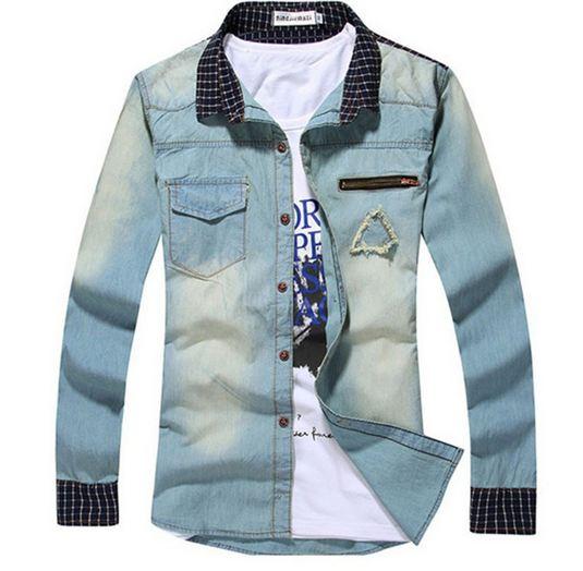 เสื้อเชิ้ตยีนส์ผู้ชาย เสื้อยีนส์แขนยาว เสื้อยีนส์ ฟอก ออกแบบ คอปก และ ช่วงปลายแขน ลายสก๊อต มีกระเป๋าบน สียีนส์ แนวเซอร์ 68097_1