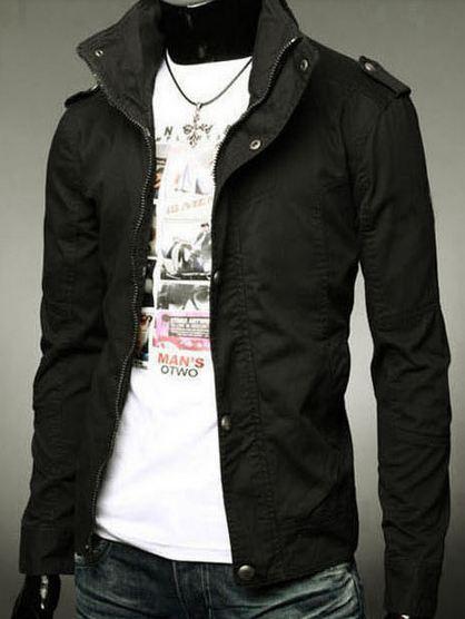เสื้อกันหนาวผู้ชาย เสื้อคลุมผู้ชายแขนยาว สไตล์ แจ็คเก็ตยีนส์ สีพื้น Jacket แบบพอดีตัว ซิปด้านหน้า แต่งกระดุม อีกชั้น สีดำ no 387798