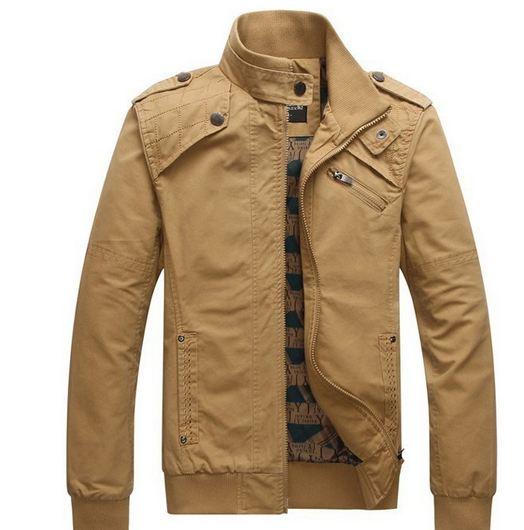 เสื้อ แจ็คเก็ต ผู้ชายแขนยาว เสื้อผ้ายีนส์ สีน้ำตาลอ่อน ทะเลทราย Jacket แขนยาว แบบ คอตั้ง ปิดคอ เอวจั้ม แขนจั้ม ผ้า 2 ชั้น แบบสวย ราคาถูก 224503