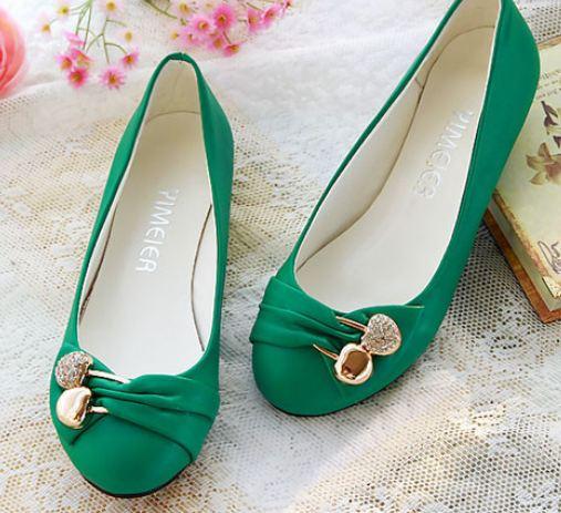 รองเท้าหุ้มส้นผู้หญิง หนัง pu ดีไซน์ เก๋ ตกแต่ง คริสตัล แอปเปิ้ล ด้านหน้ารองเท้า รองเท้าผู้หญิง ไม่มีส้น สีพื้น สีเขียว 94339_1