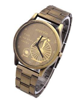 นาฬิกาข้อมือผู้หญิง สายโลหะ สี บรอนซ์ทอง สไตล์วินเทจ หน้า เป็นรูป จักรยาน โบราณ ของขวัญให้แฟน สุดหรู no 647281_3