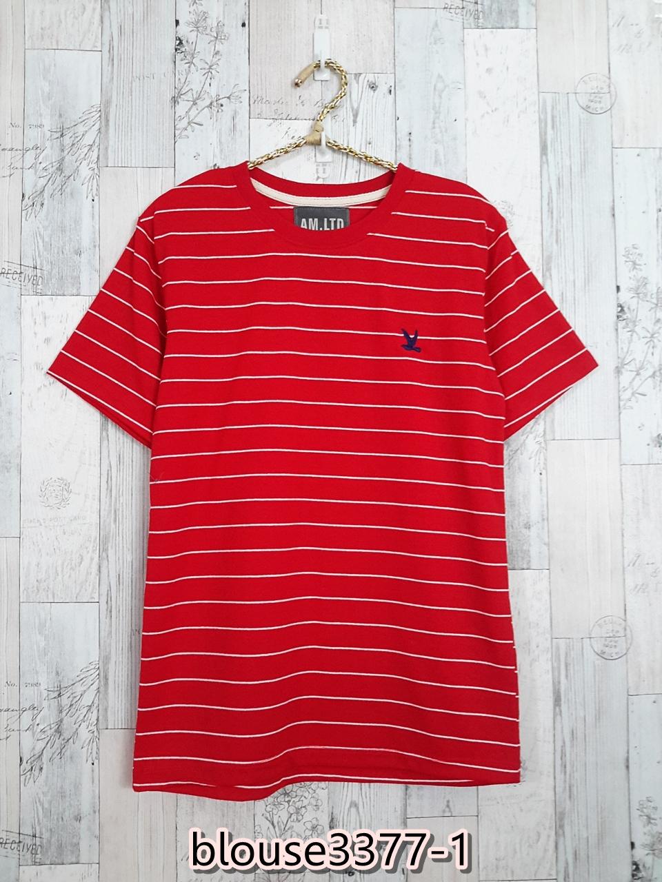 blouse3377-1 เสื้อยืดแฟชั่น อกปักรูปนกสไตล์ CC-OO ผ้าคอตตอนยืดเนื้อนิ่มลายริ้ว สีแดง Size M