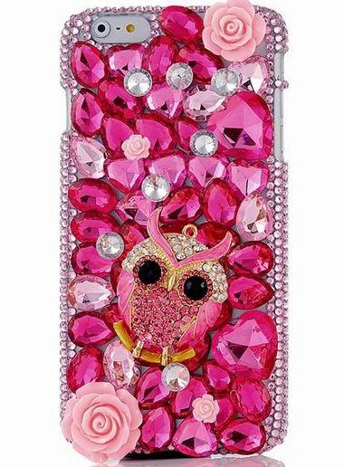 เคส iphone 6 Plus ขนาด 5.5 นิ้ว เคสคริสตัล Rhinestone เคสหรู สีชมพู หวาน ๆ ติดคริสตัล นกฮูก เคส 3 มิติ Diy คริสตัลหัวใจ เคสไฮโซ 927806