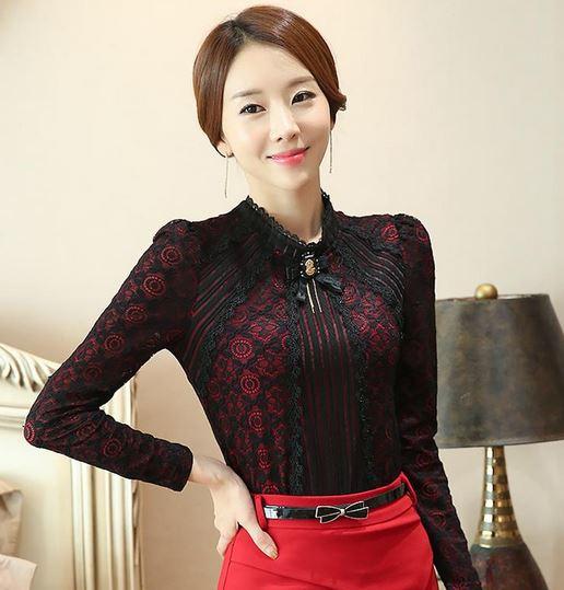 เสื้อผ้าลูกไม้ สีดำ ตัด แดง สวยหรู เสื้อผู้หญิง ผ้าลูกไม้ แขนยาว แบบพอดีตัว เสื้อดีไซน์ ปิดคอ เสื้อลูกไม้ แฟชั่น เรียบร้อย ใส่ออกงาน สวยหรู 152613_2