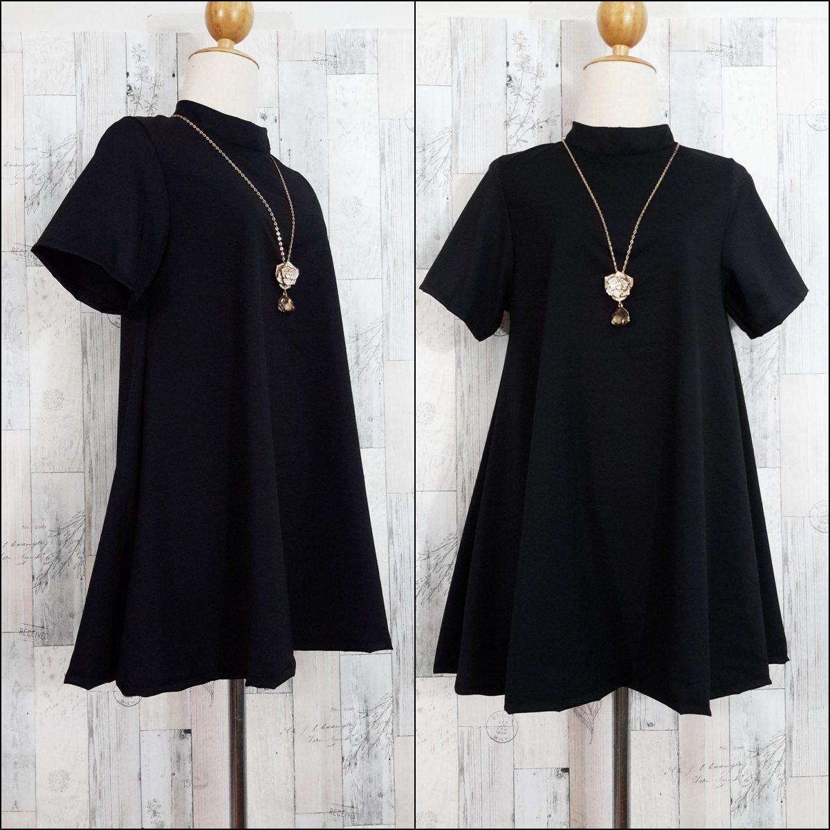 Dress3609 ชุดเดรสแฟชั่นทรงปล่อยใส่สบาย มีซิปหลังใส่ง่าย ผ้าไหมอิตาลีสีพื้นดำ งานดีผ้านุ่มใส่สบาย