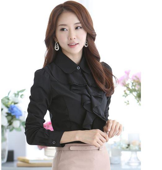 เสื้อแฟชั่น เสื้อผู้หญิง ใส่ทำงาน เสื้อเชิ้ต สีดำ ใส่ทำงาน ออฟฟิต แบบมีระบาย พู่ที่คอ เสื้อใส่ทำงาน สีดำ สวย ๆ แขนยาว มีดีไซน์ 218326