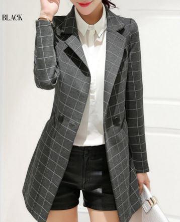 เสื้อสูท เสื้อแจ็คเก็ต เสื้อคลุม แบบสูท สูทผู้หญิง แขนยาว สูทตัวยาว สีเทา ลายตาราง สี่เหลี่ยม เสื้อสูท ใส่ทำงาน แบบมีกระเป๋า 127125_1