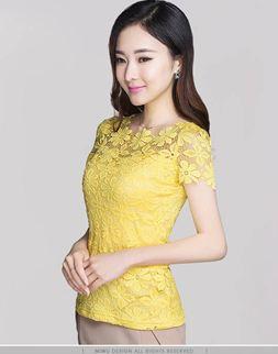 เสื้อแขนสั้น ผ้าลูกไม้ ลุ๊ค คุณหนู ใส่แล้วดู ผู้ดี แบบไทย ๆ เสื้อแบบไทย ใส่ออกงาน ใส่ทำงาน สีเหลือง Size M-5XL no 741457_6