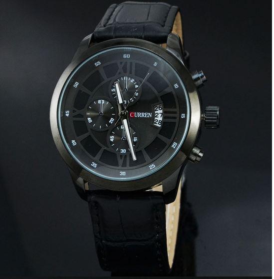 นาฬิกาข้อมือ ผู้ชาย สายหนังแท้ หน้าปัด คลาสสิค สีดำ สำหรับผู้ชาย สุขุม นุ่มลึก ดีไซน์ เท่ มาดนักบริหาร no 19477