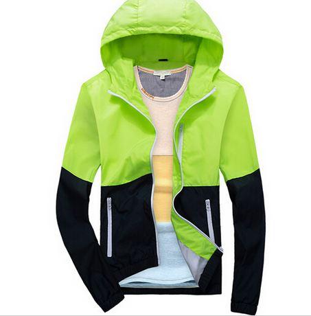เสื้อแจ็คเก็ต ผู้ชายแขนยาว ผ้า Polyester เนื้อผ้า บางเบา เสื้อคลุม ใส่วิ่ง สีเขียว สะท้อนแสง มีกระเป๋าข้าง เสื้อแขนยาว ซิปหน้า ใส่กันลมได้ 220418_2