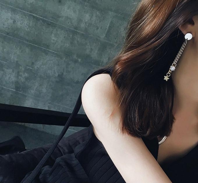 ต่างหู,ตุ้มหูแฟชั่นสไตล์เกาหลีรูปโซ่สีทองและเงินแต่งดาวคริสตัล