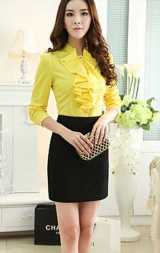 เสื้อเชิ้ตใส่ทำงาน เสื้อชีฟอง แขนยาว เสื้อเชิ้ตผู้หญิง สำหรับใส่ทำงาน ออฟฟิต มีระบาย ที่อก สีเหลือง ดีไซน์ เก๋ มีสไตล์ ไม่ซ้ำใคร เสื้อแฟชั่น ไฮโซ 539997