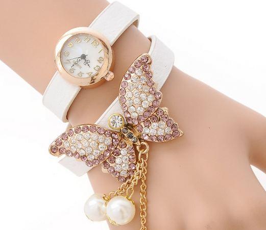 นาฬิกาสร้อยข้อมือ หนังแท้ นาฬิกาข้อมือผู้หญิง ห้อยไข่มุก ติดคริสตัล ผีเสื้อ สุดหรู นาฬิกาข้อมือ สวย ๆ ให้แฟน ใส่เที่ยว ใส่ออกงาน 158648