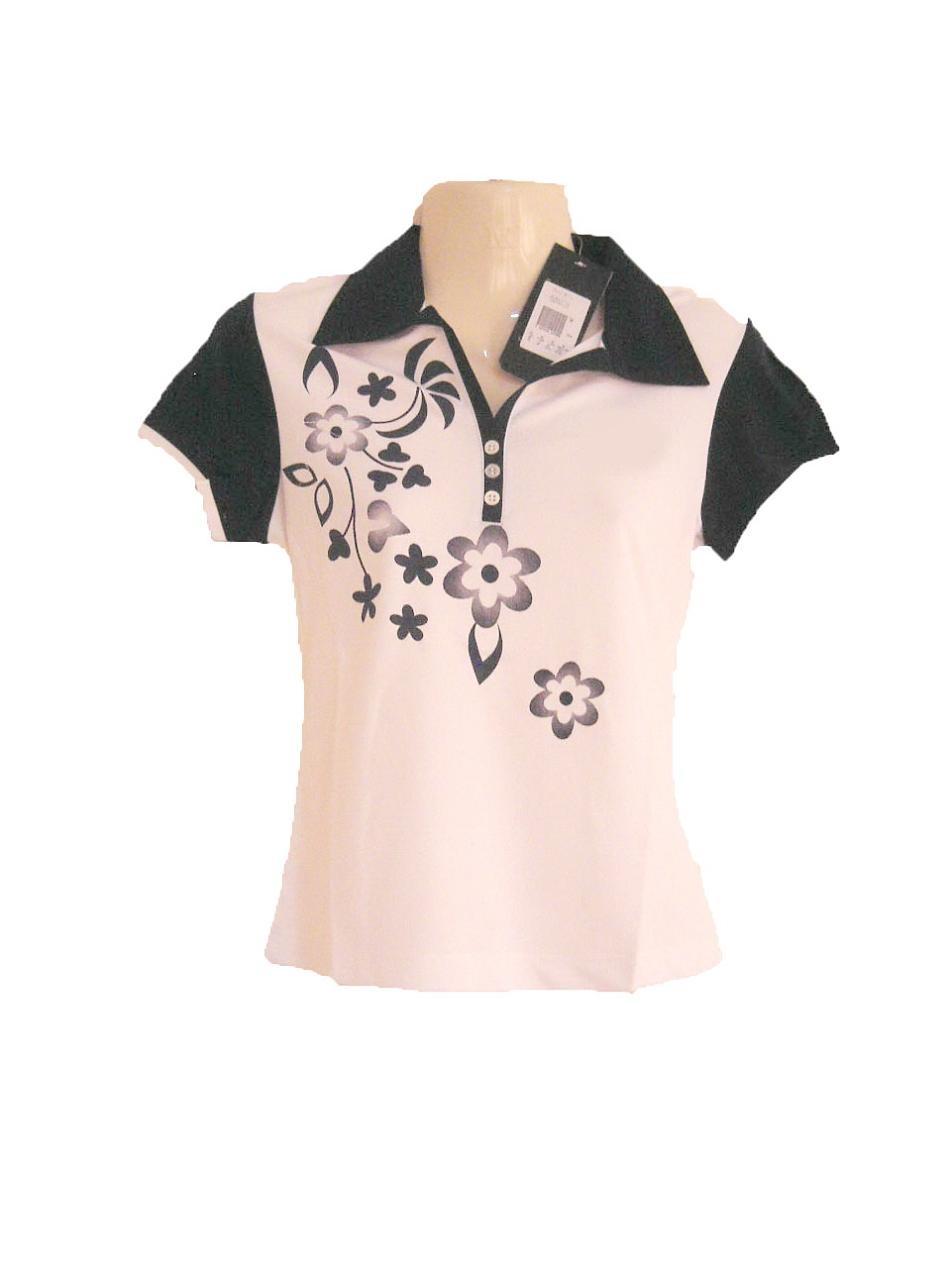 เสื้อเชิ้ตผู้หญิง เสื้อคอปก เสื้อใส่วิ่ง ใส่ออกกำลังกาย สีขาว ลายดอกไม้สีดำ สวย ๆ Size M เสื้อออกกำลัง เข้าฟิตเนส ลดราคา sa140