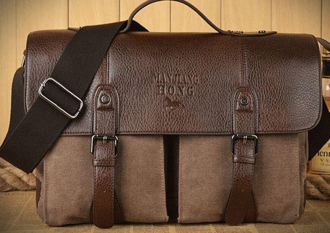 กระเป๋าสะพายข้าง ผู้ชาย กระเป๋าถือ ผ้า canvas ผสมหนังแท้รอบใบ กระเป๋าใส่เอกสาร ใส่ notebook สไตล์ ผู้ดี อังกฤษ สีน้ำตาล no 419509_1