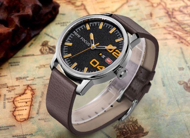 นาฬิกาข้อมือ ผู้ชาย ผู้หญิง ใส่ได้ นาฬิกาสายหนัง ตัวเลขใหญ่ มีระบบวันที่ แฟชั่นสวย ๆ นาฬิกาใส่เท่ ๆ 100362