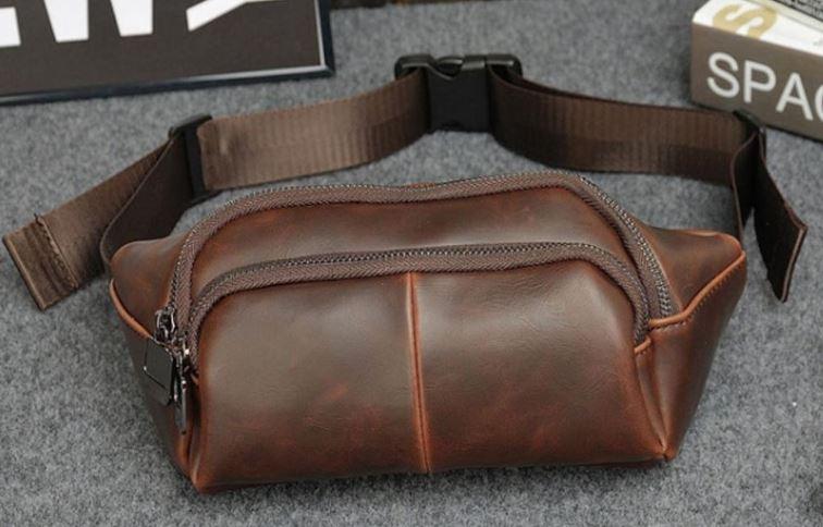 กระเป๋าคาดเอว หนังวัวแท้ กระเป๋าหนังแท้ คาดเอว แนวยาว สีน้ำตาล แบบคลาสสิค ซิป 3 ช่อง แบบคลาสสิค 473595