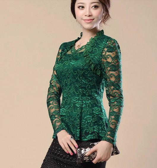 เสื้อผ้าลูกไม้ แขนยาว สีเขียว มรกต ใส่ออกงาน สไตล์ คุณหญิง คุณนาย ผ้าลูกไม้ เสื้อผู้หญิง ใส่ไปงานทางการ งานราตรี งานแต่งงาน แบบสวย มีดีไซน์ 424502_2