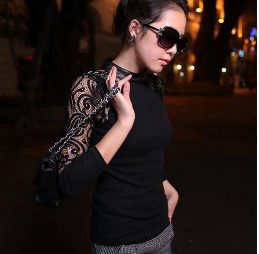 เสื้อแฟชั่น เสื้อผู้หญิง แขนยาว เสื้อยืด ใส่เที่ยว สีดำ ดีไซน์ แขน ชีทรู ลูกไม้ สีดำ เสื้อใส่เที่ยวกลางคืน แบบ เปรี้ยว คุณหนู ไฮโซ สุด ๆ 377481_1