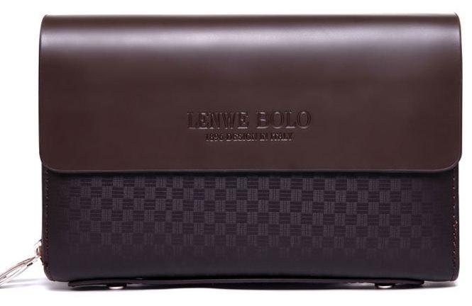 กระเป๋าถือนักธุรกิจ กระเป๋าสตางค์ผู้ชาย หนังแท้ ขนาดกลาง สีน้ำตาล ลายสก๊อต ตาราง no 53045_2